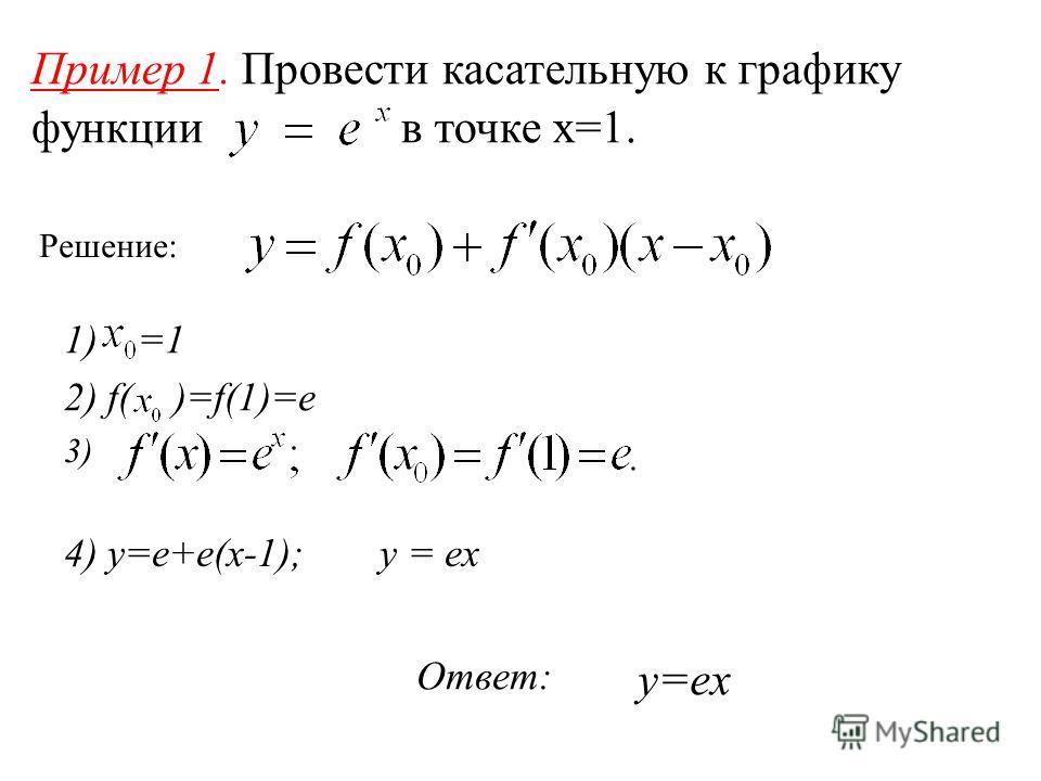 Пример 1. Провести касательную к графику функции в точке x=1. Решение: 1) =1 2) f( )=f(1)=e 3) 4) y=e+e(x-1); y = ex Ответ: y=ex