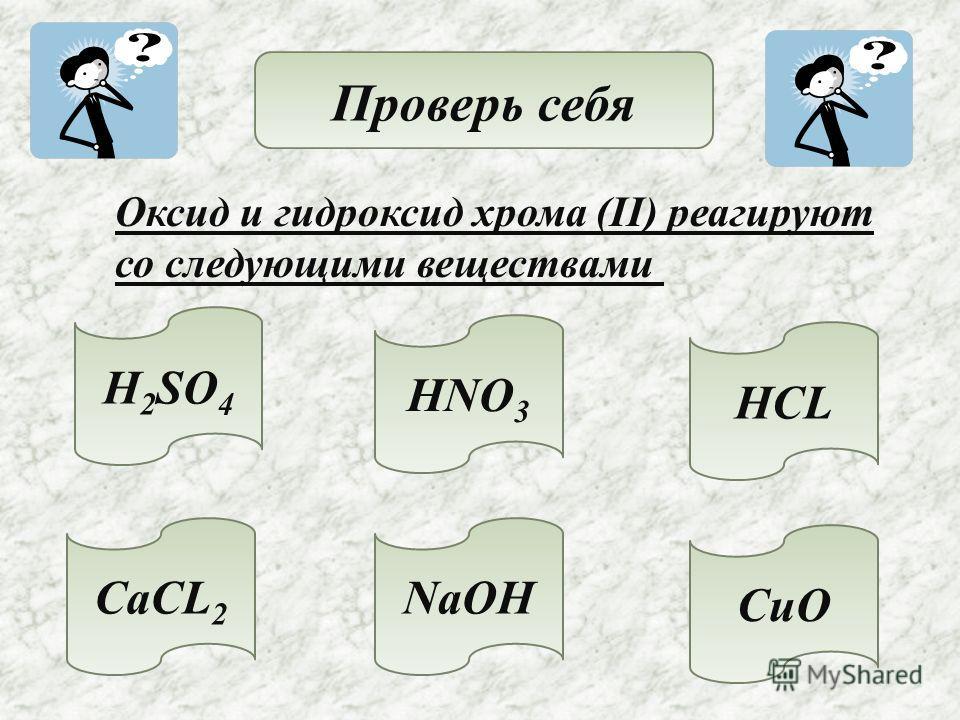 Проверь себя Оксид и гидроксид хрома (II) реагируют со следующими веществами H 2 SO 4 HNO 3 HCL CaCL 2 NaOH CuO