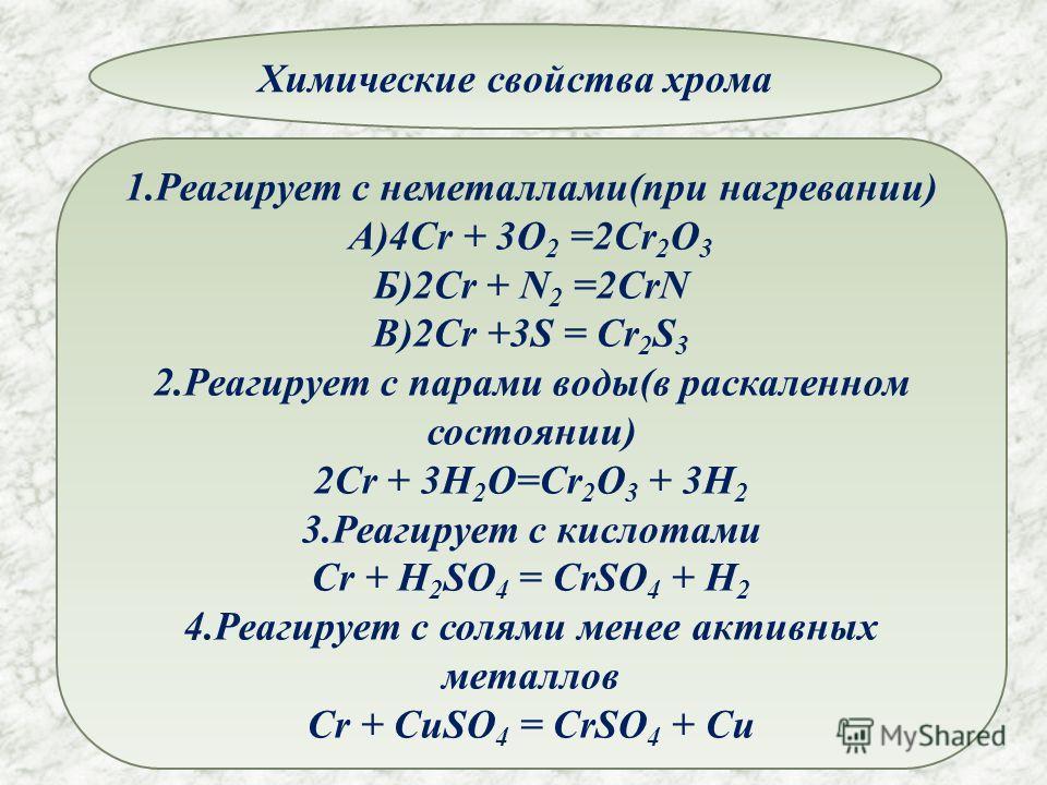 Химические свойства хрома 1.Реагирует с неметаллами(при нагревании) А)4Cr + 3O 2 =2Cr 2 O 3 Б)2Cr + N 2 =2CrN В)2Cr +3S = Cr 2 S 3 2.Реагирует с парами воды(в раскаленном состоянии) 2Cr + 3H 2 O=Cr 2 O 3 + 3H 2 3.Реагирует с кислотами Cr + H 2 SO 4 =