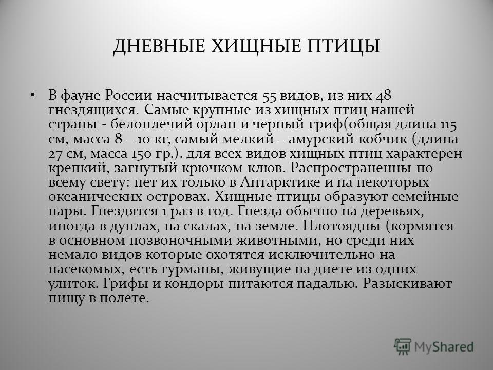 ДНЕВНЫЕ ХИЩНЫЕ ПТИЦЫ В фауне России насчитывается 55 видов, из них 48 гнездящихся. Самые крупные из хищных птиц нашей страны - белоплечий орлан и черный гриф(общая длина 115 см, масса 8 – 10 кг, самый мелкий – амурский кобчик (длина 27 см, масса 150