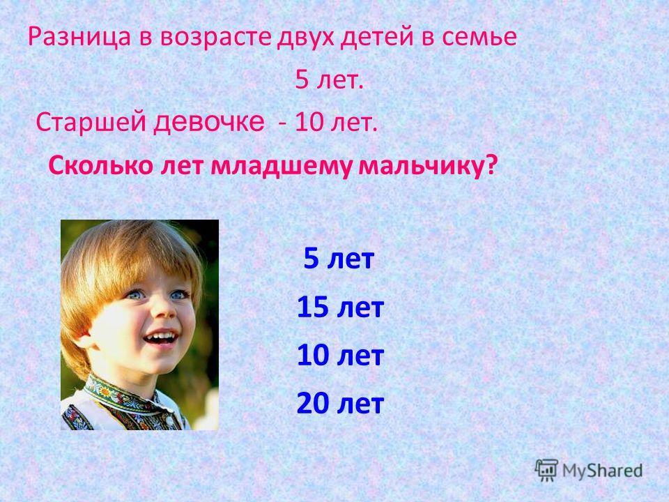 Разница в возрасте двух детей в семье 5 лет. Старше й девочке - 10 лет. Сколько лет младшему мальчику? 5 лет 15 лет 10 лет 20 лет