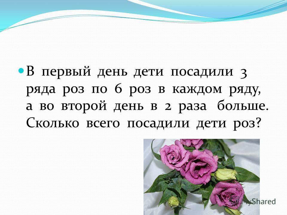 В первый день дети посадили 3 ряда роз по 6 роз в каждом ряду, а во второй день в 2 раза больше. Сколько всего посадили дети роз?