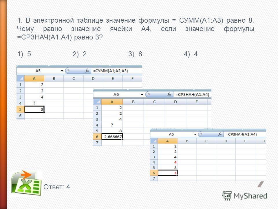 1. В электронной таблице значение формулы = СУММ(А1:А3) равно 8. Чему равно значение ячейки А4, если значение формулы =СРЗНАЧ(А1:А4) равно 3? 1). 5 2). 2 3). 8 4). 4 Ответ: 4