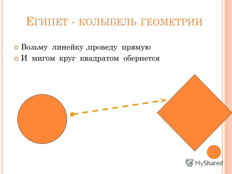 Е ГИПЕТ - КОЛЫБЕЛЬ ГЕОМЕТРИИ Возьму линейку,проведу прямую И мигом круг квадратом обернется