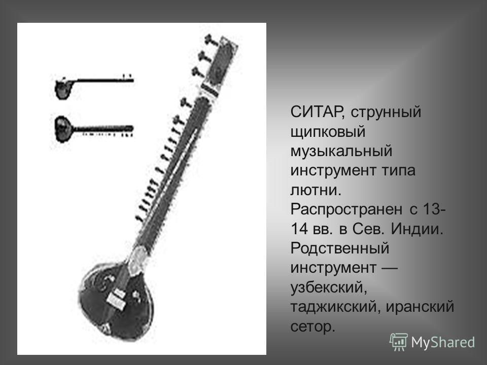 СИТАР, струнный щипковый музыкальный инструмент типа лютни. Распространен с 13- 14 вв. в Сев. Индии. Родственный инструмент узбекский, таджикский, иранский сетор.