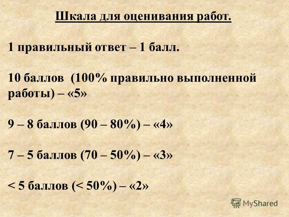 Шкала для оценивания работ. 1 правильный ответ – 1 балл. 10 баллов (100% правильно выполненной работы) – «5» 9 – 8 баллов (90 – 80%) – «4» 7 – 5 баллов (70 – 50%) – «3» < 5 баллов (< 50%) – «2»