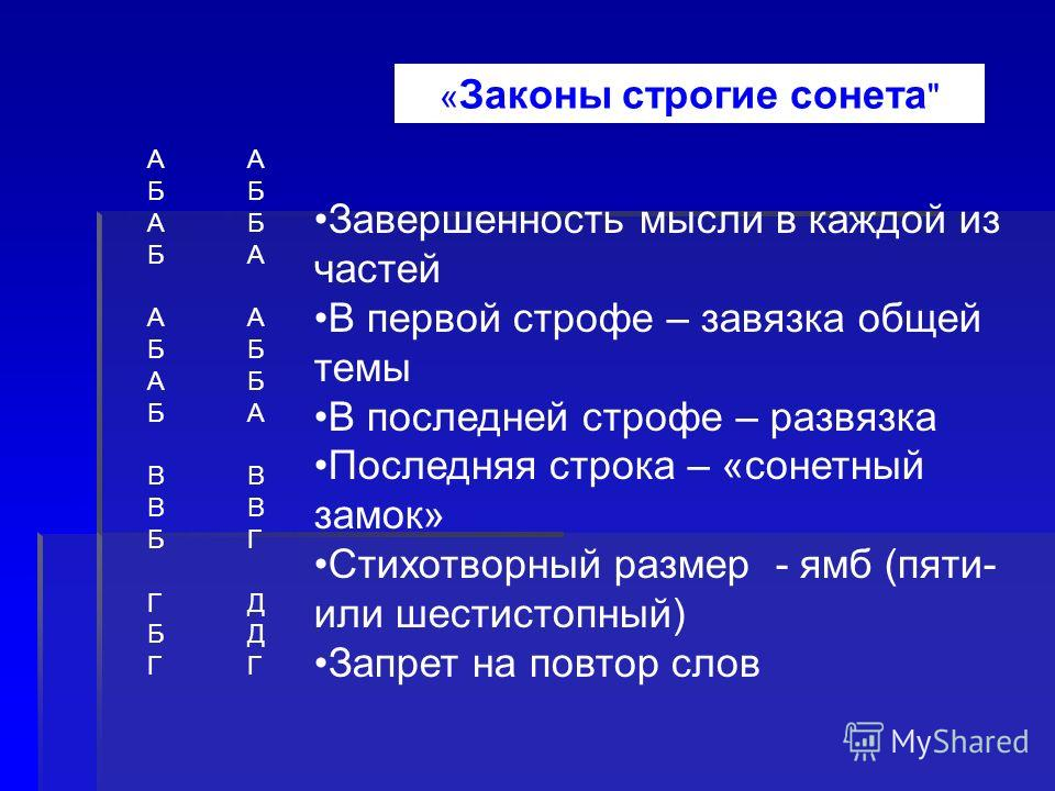 АБАБАБАБВВБГБГАБАБАБАБВВБГБГ АББААББАВВГДДГАББААББАВВГДДГ Завершенность мысли в каждой из частей В первой строфе – завязка общей темы В последней строфе – развязка Последняя строка – «сонетный замок» Стихотворный размер - ямб (пяти- или шестистопный)