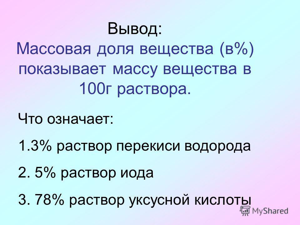 Вывод: Массовая доля вещества (в%) показывает массу вещества в 100г раствора. Что означает: 1.3% раствор перекиси водорода 2. 5% раствор иода 3. 78% раствор уксусной кислоты