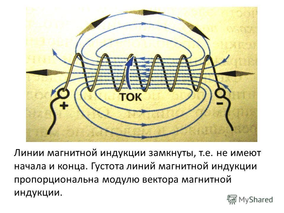 Линии магнитной индукции замкнуты, т.е. не имеют начала и конца. Густота линий магнитной индукции пропорциональна модулю вектора магнитной индукции.