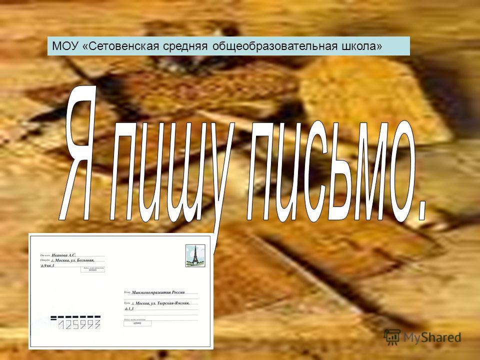 МОУ «Сетовенская средняя общеобразовательная школа»