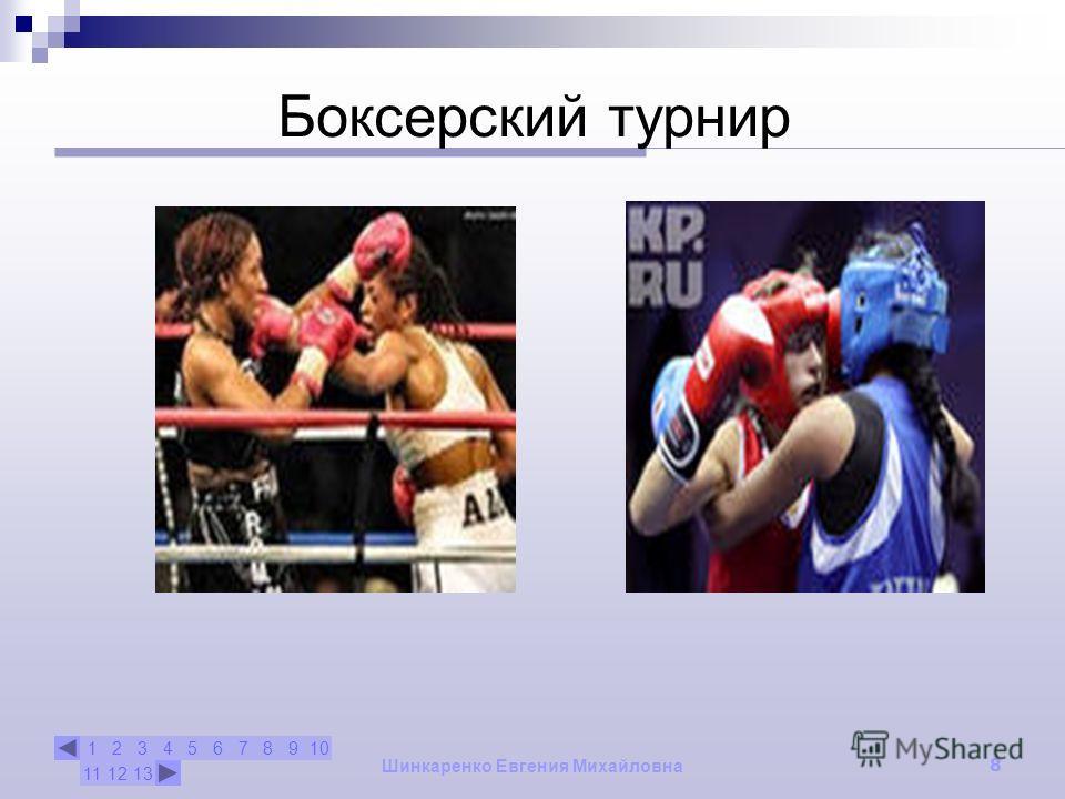 12345678910 111213 Шинкаренко Евгения Михайловна 8 Боксерский турнир