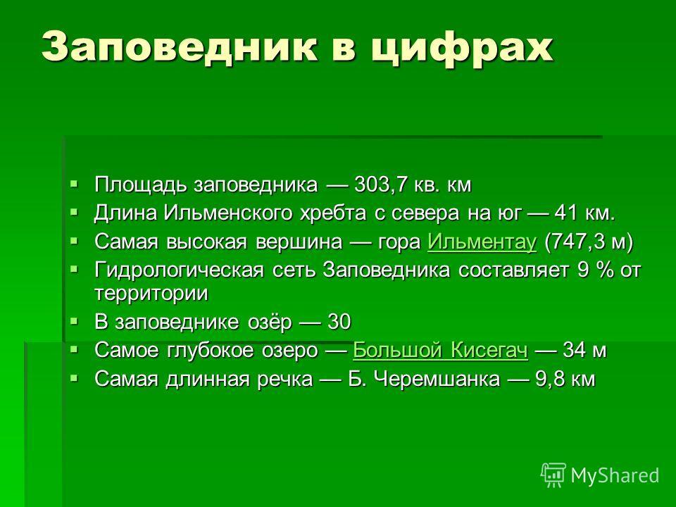Заповедник в цифрах Площадь заповедника 303,7 кв. км Площадь заповедника 303,7 кв. км Длина Ильменского хребта с севера на юг 41 км. Длина Ильменского хребта с севера на юг 41 км. Самая высокая вершина гора Ильментау (747,3 м) Самая высокая вершина г