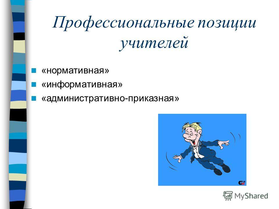 Профессиональные позиции учителей «нормативная» «информативная» «административно-приказная»