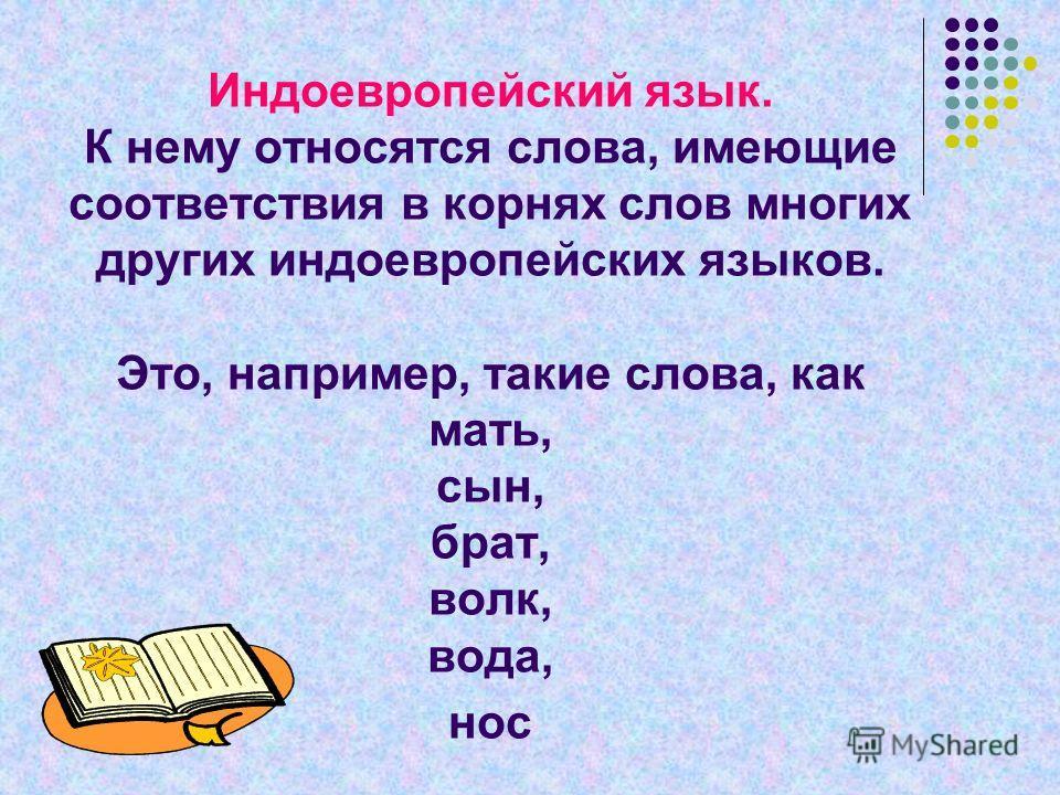 Индоевропейский язык. К нему относятся слова, имеющие соответствия в корнях слов многих других индоевропейских языков. Это, например, такие слова, как мать, сын, брат, волк, вода, нос