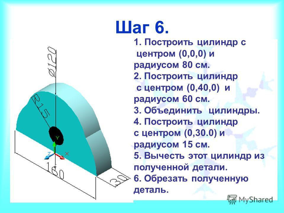Шаг 6. 1.Построить цилиндр с центром (0,0,0) и радиусом 80 см. 2. Построить цилиндр с центром (0,40,0) и радиусом 60 см. 3. Объединить цилиндры. 4. Построить цилиндр с центром (0,30.0) и радиусом 15 см. 5. Вычесть этот цилиндр из полученной детали. 6