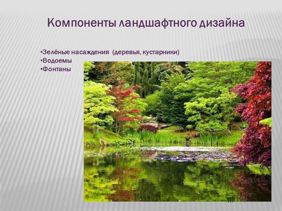 Компоненты ландшафтного дизайна Зелёные насаждения (деревья, кустарники) Водоемы Фонтаны