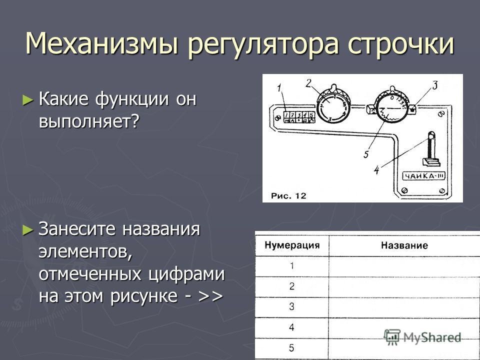 Механизмы регулятора строчки Какие функции он выполняет? Какие функции он выполняет? Занесите названия элементов, отмеченных цифрами на этом рисунке - >> Занесите названия элементов, отмеченных цифрами на этом рисунке - >>