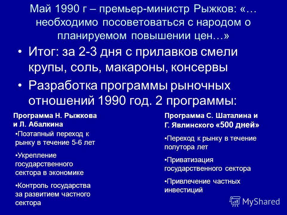 Май 1990 г – премьер-министр Рыжков: «… необходимо посоветоваться с народом о планируемом повышении цен…» Итог: за 2-3 дня с прилавков смели крупы, соль, макароны, консервы Разработка программы рыночных отношений 1990 год. 2 программы: Программа Н. Р