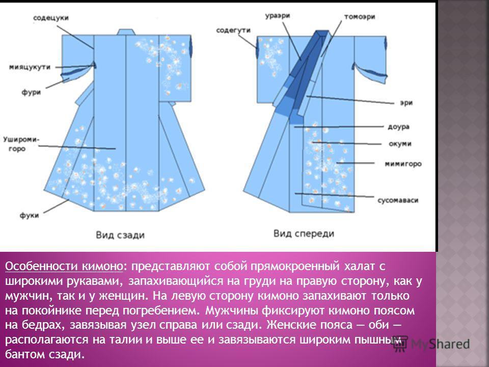Особенности кимоно: представляют собой прямокроенный халат с широкими рукавами, запахивающийся на груди на правую сторону, как у мужчин, так и у женщин. На левую сторону кимоно запахивают только на покойнике перед погребением. Мужчины фиксируют кимон
