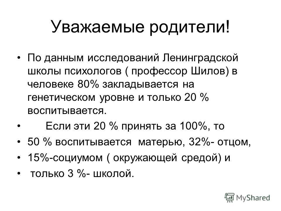 Уважаемые родители! По данным исследований Ленинградской школы психологов ( профессор Шилов) в человеке 80% закладывается на генетическом уровне и только 20 % воспитывается. Если эти 20 % принять за 100%, то 50 % воспитывается матерью, 32%- отцом, 15