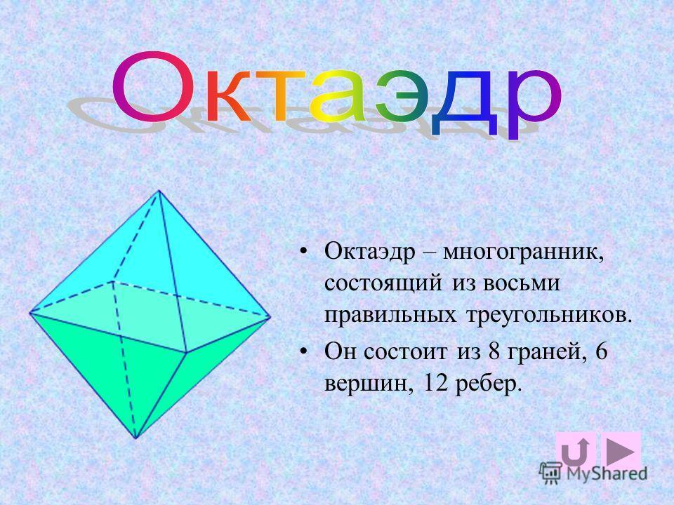 гексаэдр Гексаэдр – многогранник, состоящий из шести квадратов. Он состоит из 6 граней, 8 вершин,12 ребер.