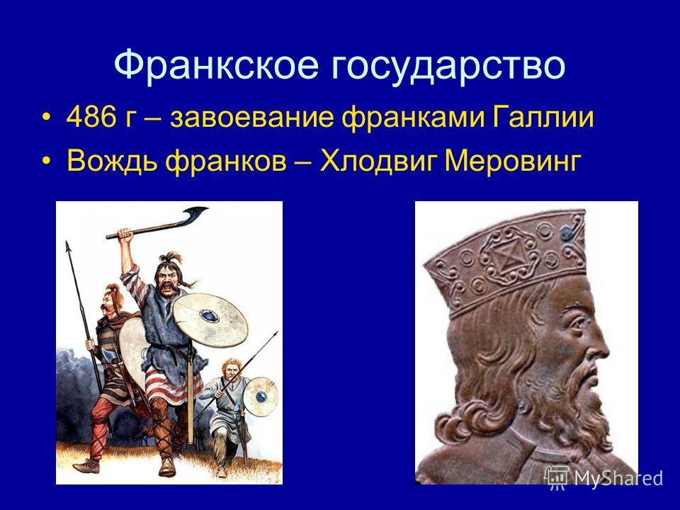 Франкское государство 486 г – завоевание франками Галлии Вождь франков – Хлодвиг Меровинг