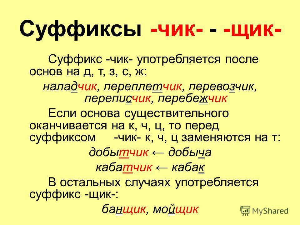 Суффиксы -чик- - -щик- Суффикс -чик- употребляется после основ на д, т, з, с, ж: наладчик, переплетчик, перевозчик, переписчик, перебежчик Если основа существительного оканчивается на к, ч, ц, то перед суффиксом -чик- к, ч, ц заменяются на т: добытчи