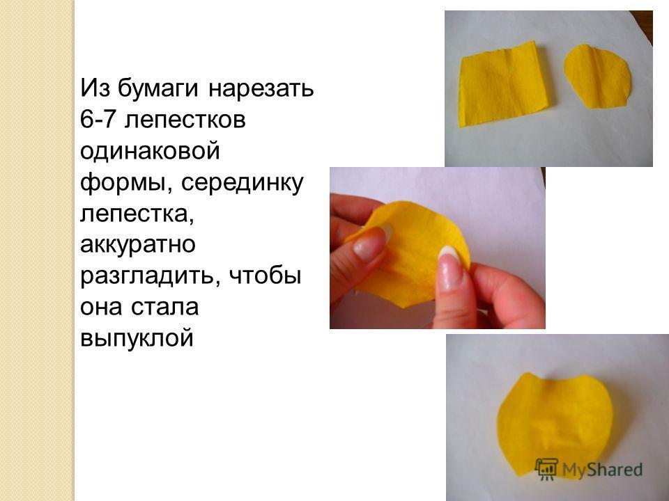 Из бумаги нарезать 6-7 лепестков одинаковой формы, серединку лепестка, аккуратно разгладить, чтобы она стала выпуклой