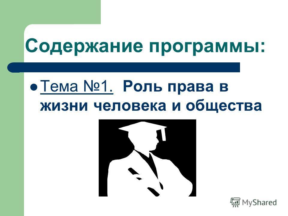 Содержание программы: Тема 1. Роль права в жизни человека и общества