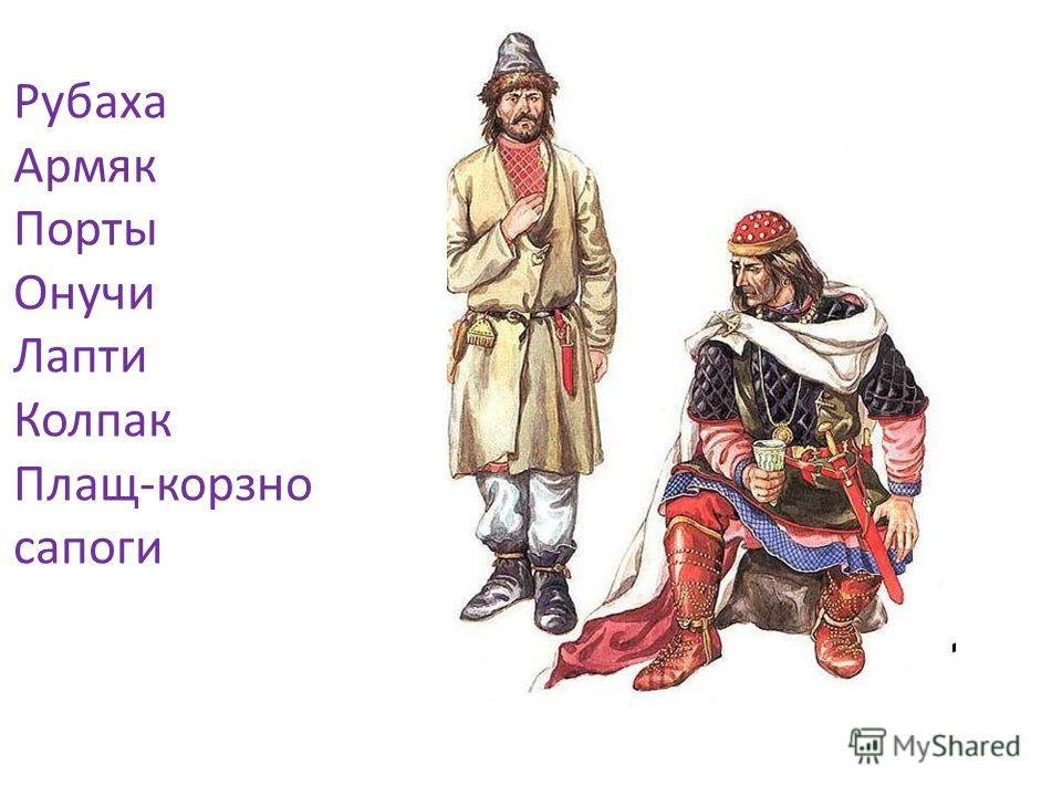 Рубаха Армяк Порты Онучи Лапти Колпак Плащ-корзно сапоги