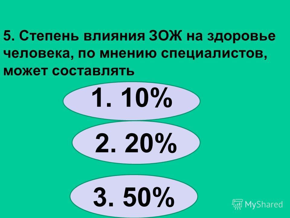 5. Степень влияния ЗОЖ на здоровье человека, по мнению специалистов, может составлять 1. 10% 2. 20% 3. 50%