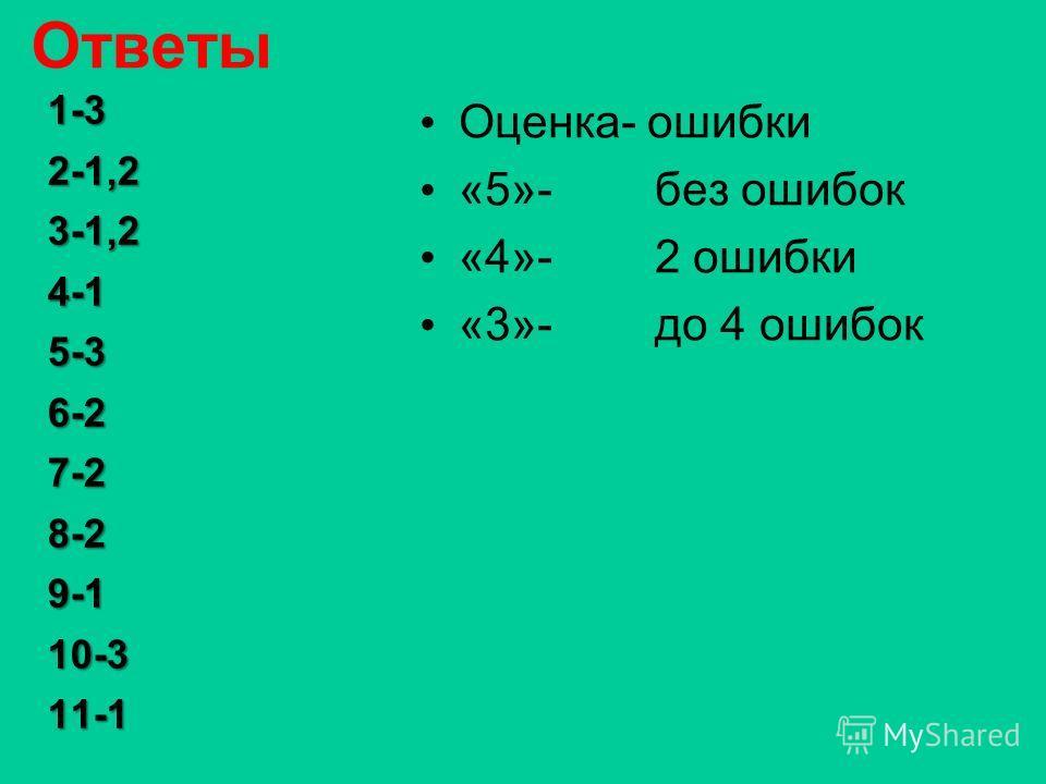 Ответы Оценка- ошибки «5»- без ошибок «4»- 2 ошибки «3»- до 4 ошибок 1-32-1,23-1,24-15-36-27-28-29-110-311-1
