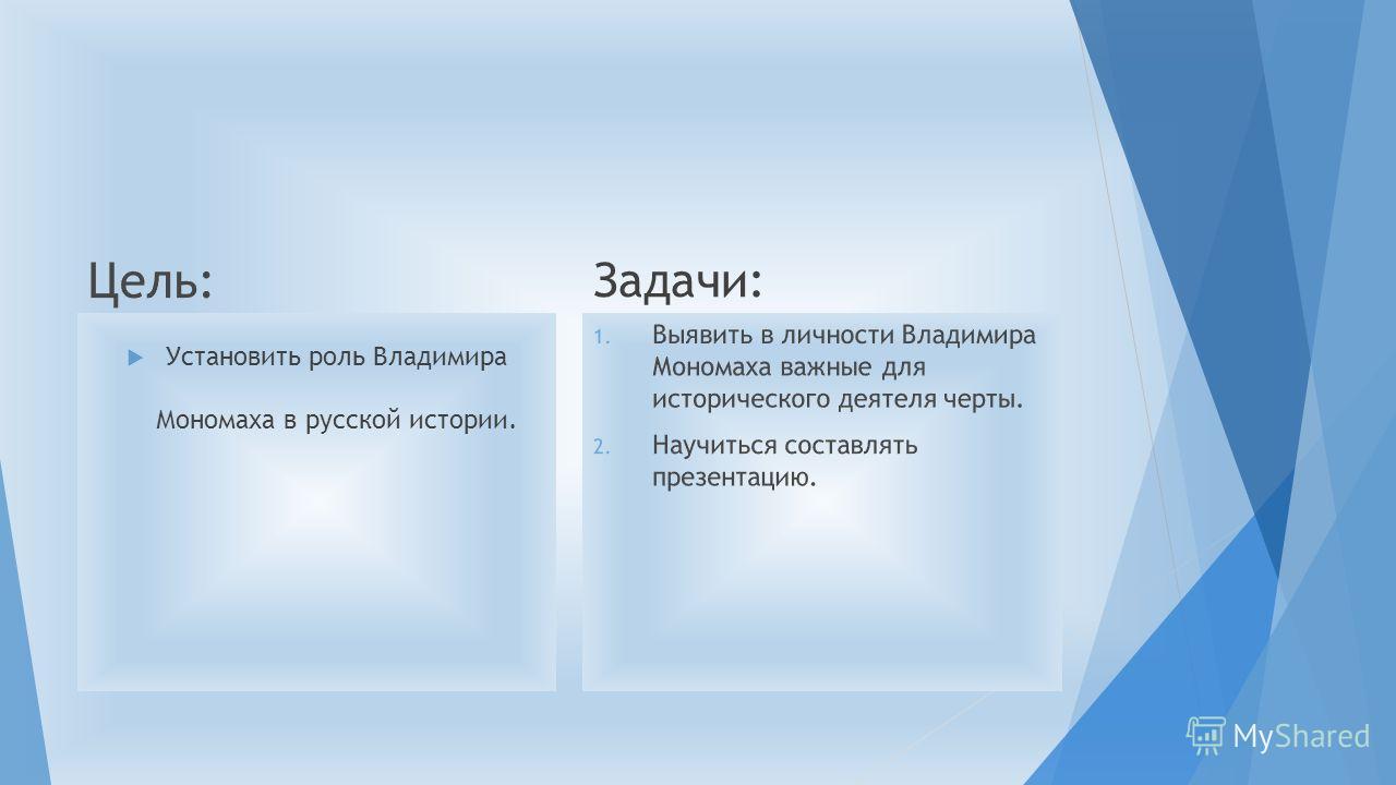 Установить роль Владимира Мономаха в русской истории. Задачи: