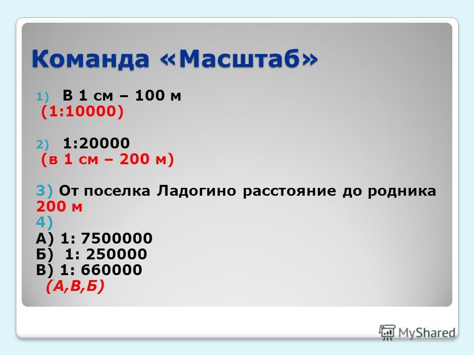 Команда «Масштаб» 1) В 1 см – 100 м (1:10000) 2) 1:20000 (в 1 см – 200 м) 3) От поселка Ладогино расстояние до родника 200 м 4) А) 1: 7500000 Б) 1: 250000 В) 1: 660000 (А,В,Б)