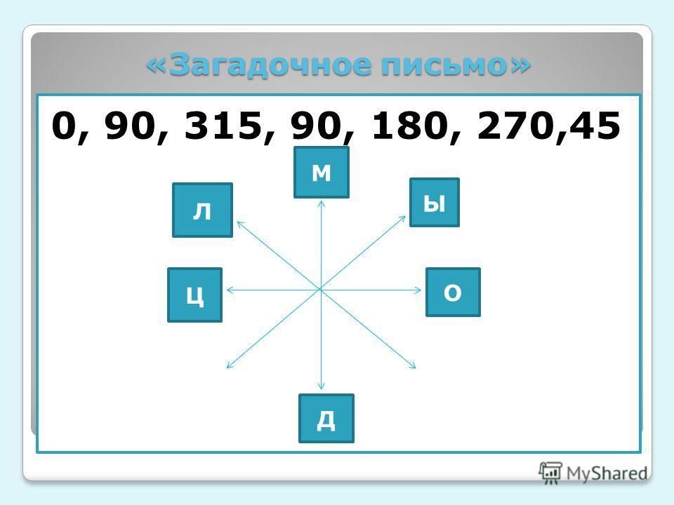 «Загадочное письмо» 0, 90, 315, 90, 180, 270,45 М Ы О Д Ц Л