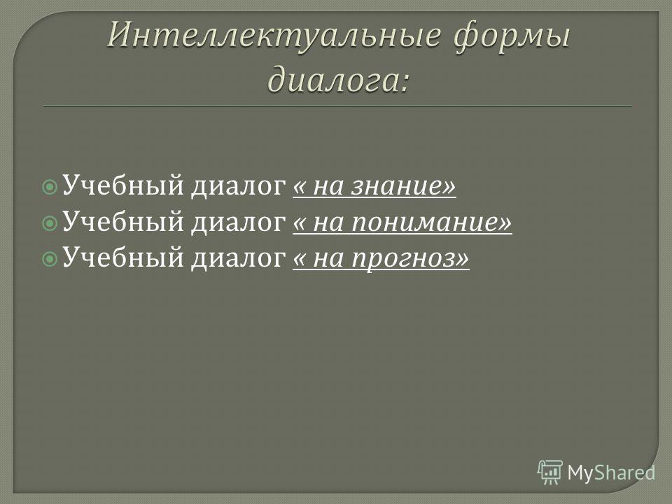 Учебный диалог « на знание » Учебный диалог « на понимание » Учебный диалог « на прогноз »