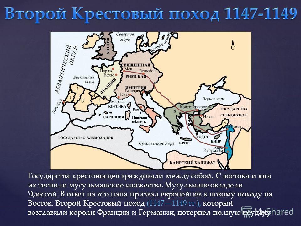 Государства крестоносцев враждовали между собой. С востока и юга их теснили мусульманские княжества. Мусульмане овладели Эдессой. В ответ на это папа призвал европейцев к новому походу на Восток. Второй Крестовый поход (11471149 гг.), который возглав