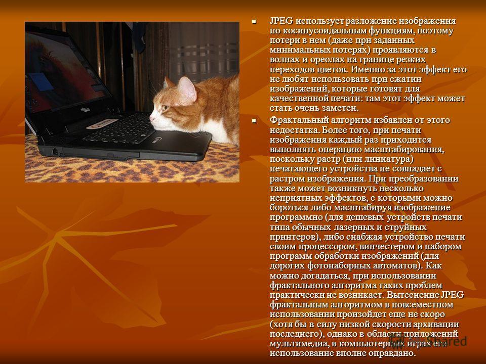 JPEG использует разложение изображения по косинусоидальным функциям, поэтому потери в нем (даже при заданных минимальных потерях) проявляются в волнах и ореолах на границе резких переходов цветов. Именно за этот эффект его не любят использовать при с