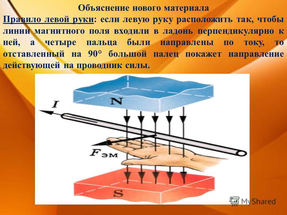Объяснение нового материала Правило левой руки: если левую руку расположить так, чтобы линии магнитного поля входили в ладонь перпендикулярно к ней, а четыре пальца были направлены по току, то отставленный на 90° большой палец покажет направление дей