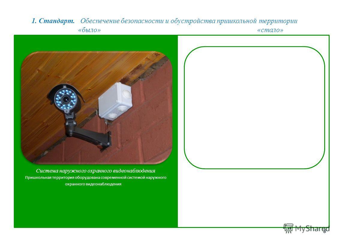 1. Стандарт. Обеспечение безопасности и обустройства пришкольной территории 8 «было»«стало» Система наружного охранного видеонаблюдения Пришкольная территория оборудована современной системой наружного охранного видеонаблюдения