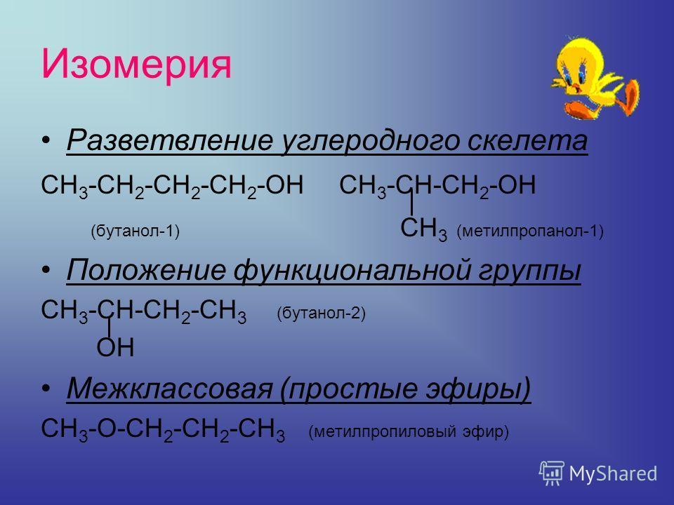 Изомерия Разветвление углеродного скелета СН 3 -СН 2 -СН 2 -СН 2 -ОН СН 3 -СН-СН 2 -ОН (бутанол-1) СН 3 (метилпропанол-1) Положение функциональной группы СН 3 -СН-СН 2 -СН 3 (бутанол-2) ОН Межклассовая (простые эфиры) СН 3 -О-СН 2 -СН 2 -СН 3 (метилп