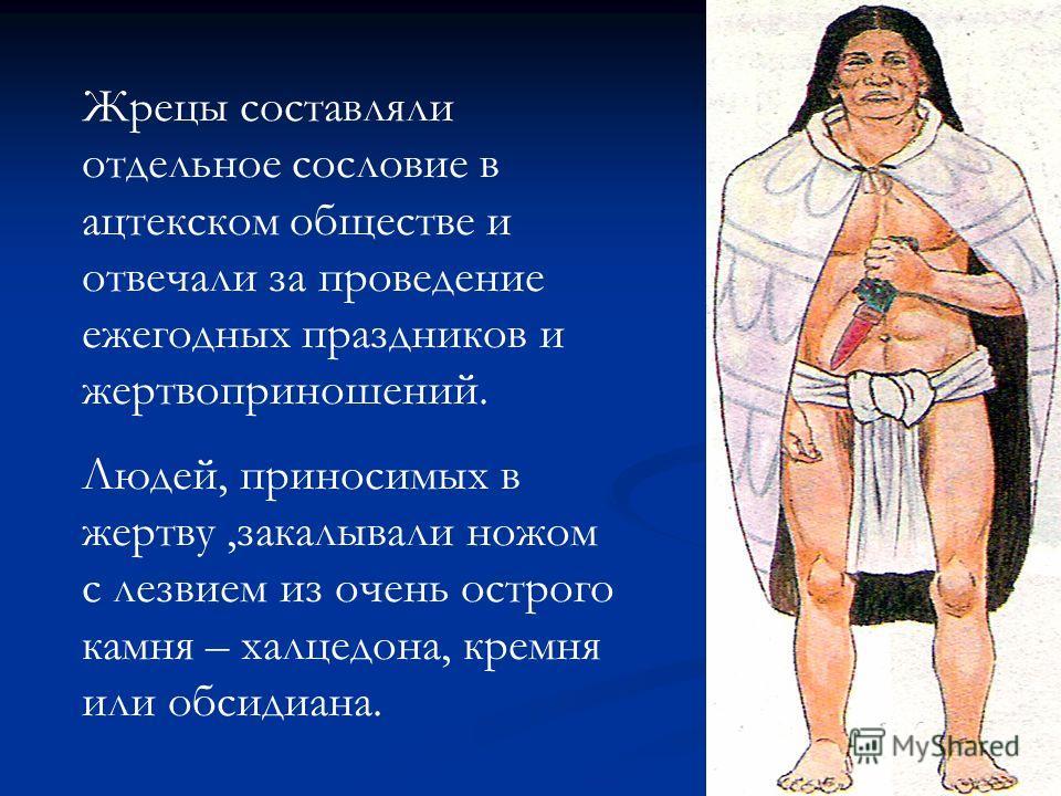 Жрецы составляли отдельное сословие в ацтекском обществе и отвечали за проведение ежегодных праздников и жертвоприношений. Людей, приносимых в жертву,закалывали ножом с лезвием из очень острого камня – халцедона, кремня или обсидиана.
