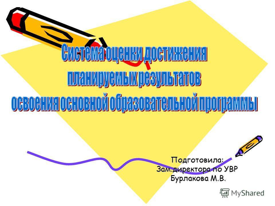Подготовила: Зам.директора по УВР Бурлакова М.В. Бурлакова М.В.