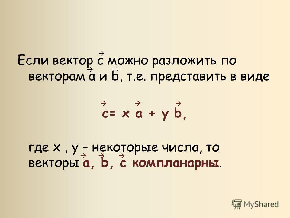 Если вектор с можно разложить по векторам a и b, т.е. представить в виде с= x a + y b, где x, y – некоторые числа, то векторы a, b, c компланарны.