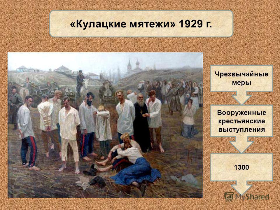 «Кулацкие мятежи» 1929 г. Чрезвычайные меры Вооруженные крестьянские выступления 1300