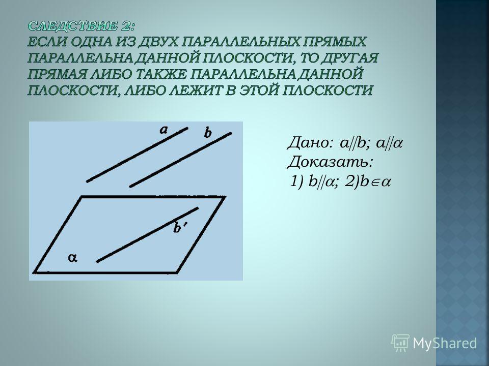 Дано: a b; a Доказать: 1) b ; 2)b