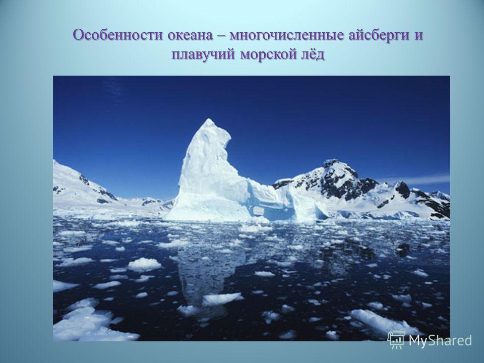 Особенности океана – многочисленные айсберги и плавучий морской лёд