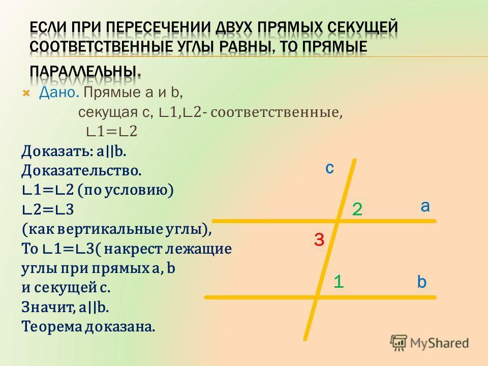Дано. Прямые a и b, секущая c, 1, 2- соответственные, 1= 2 Доказать: a b. Доказательство. 1= 2 (по условию) 2= 3 (как вертикальные углы), То 1= 3( накрест лежащие углы при прямых а, b и секущей с. Значит, a b. Теорема доказана. c a b 2 3 1