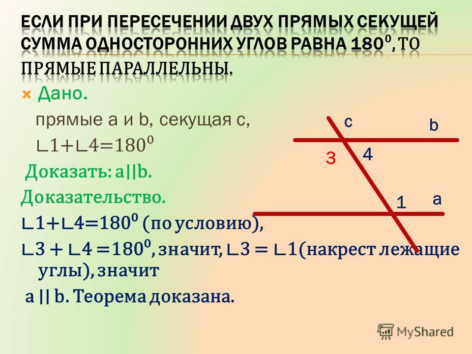 Дано. прямые a и b, секущая c, 1+ 4=180 Доказать: a b. Доказательство. 1+ 4=180 (по условию), 3 + 4 =180, значит, 3 = 1(накрест лежащие углы), значит a b. Теорема доказана. a b c 1 4 3