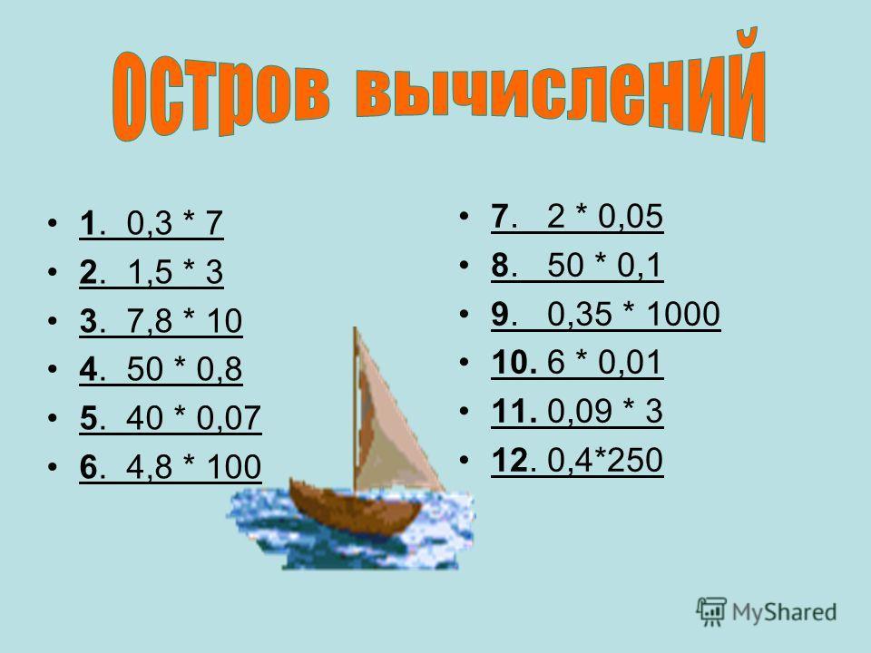 1. 0,3 * 7 2. 1,5 * 3 3. 7,8 * 10 4. 50 * 0,8 5. 40 * 0,07 6. 4,8 * 100 7. 2 * 0,05 8. 50 * 0,1 9. 0,35 * 1000 10. 6 * 0,01 11. 0,09 * 3 12. 0,4*250